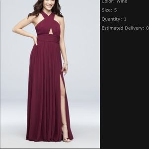 Wine colored David's Bridal bridesmaid dress
